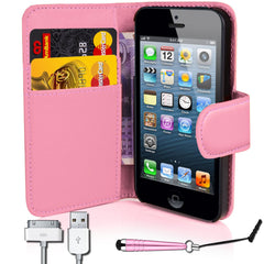 iphone5/5S PU Leather Flip Wallet Case- Pink