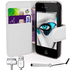 iphone5/5S PU Leather Flip Wallet Case- White