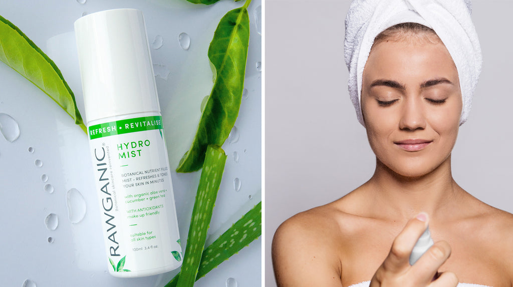 Rawganic refreshing hydro mist helps you hydrate skin 24/7