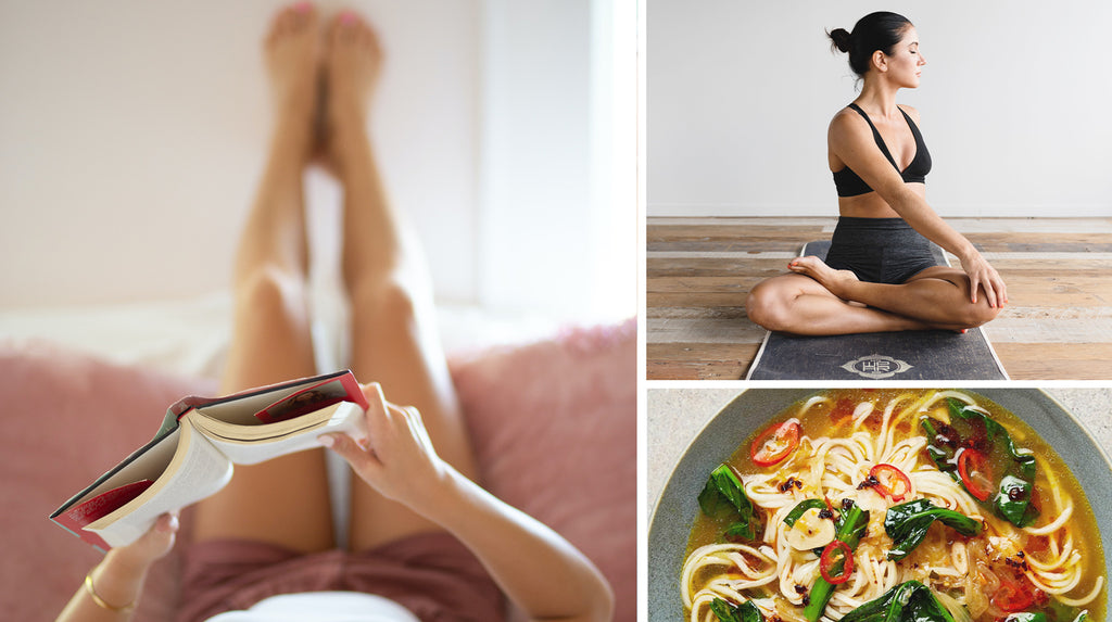 Enjoy time at home during lockdown. Slow cook, read, practise a bit of yoga to calm your mind.
