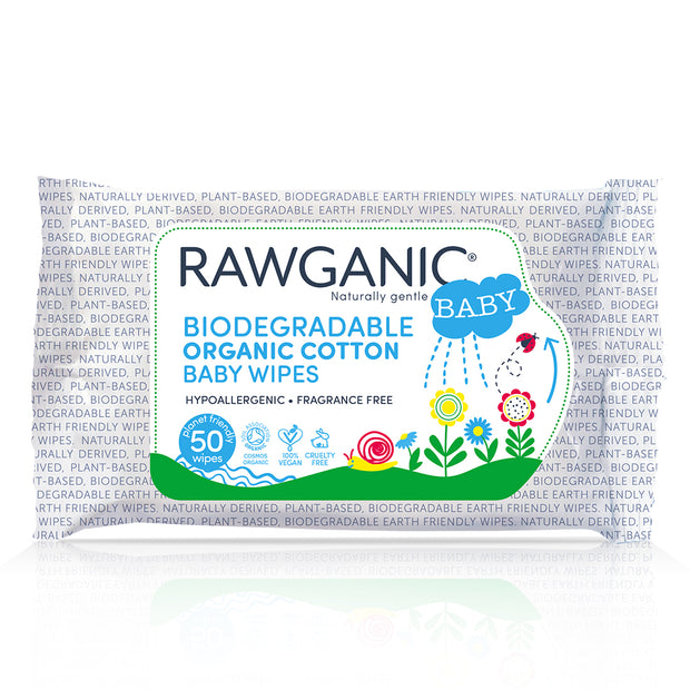 Rawganic gentle biodegradable organic cotton wipes are a quick and effective way to cleanse your baby's skin, with added aloe vera extract that soothes and moisturises. Our hypoallergenic, fragrance-free wipes made from plant-based sustainable material are gentle on babies' skin and environment. Our wipes are certified organic by the Soil Association to Cosmos Standards, a global standard which ensures safe and truly organic products.