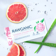 PH balanced hypoallergenic intimate hygiene feminine wipes, infused with natural extracts of grapefruit and aloe vera will cleanse and refresh. Made from 100% biodegradable cellulose, our wipes can be flushed and will disperse in water.   Great on-the-go solution when travelling, flying, on holiday, out hiking, during your period, or for intimate waxing prep.