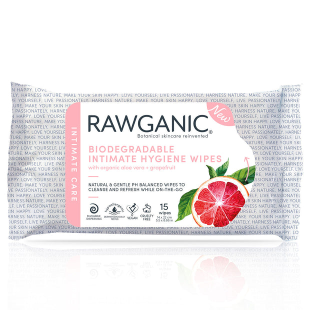 Our pH balanced hypoallergenic intimate hygiene wipes can be flushed down the toilet. With natural extracts of grapefruit and aloe vera, 100% biodegradable intimate hygiene wipes