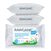 Rawganic gentle biodegradable organic cotton wipes are a quick and effective way to cleanse your baby's skin. With added Aloe Vera extract that soothes and moisturizes delicate baby's skin. Our hypoallergenic, fragrance-free wipes made from plant-based sustainable material are gentle to baby's skin and environment. Certified organic by Soil Association to Cosmos Standards, a global standard which ensures safe and truly organic products. No nasties.