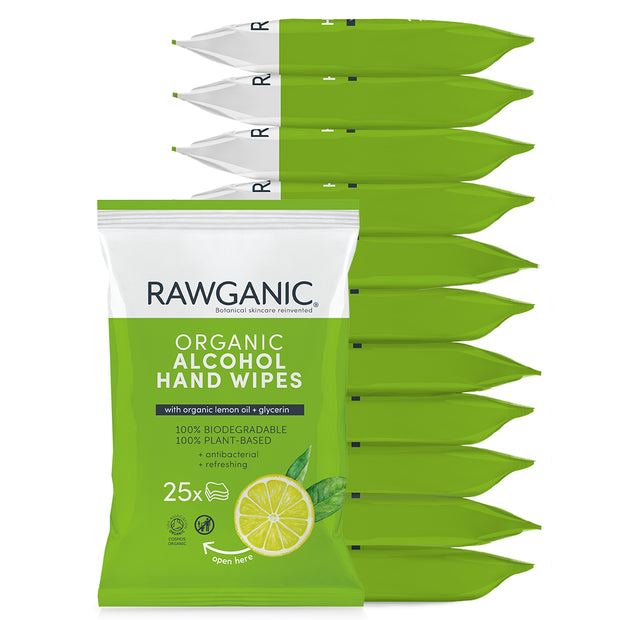 RAWGANIC Organic alcohol hand wipes, 12 packs, 25 wipes each, 300 wipes in total