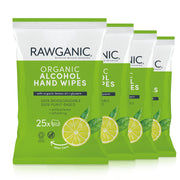 Rawganic Organic alcohol hand wipes with Glycerin and lemon oil, 4 packs