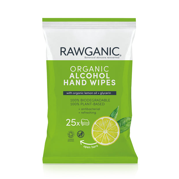 RAWGANIC Alcohol wipes with glycerin and lemon oil