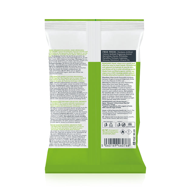 RAWGANIC Alhocol hand Wipes, back of the pack image