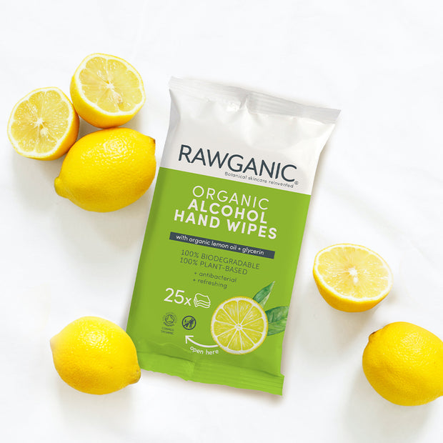 RAWGANIC Alcohol hand wipes with lemon oil and glycerin