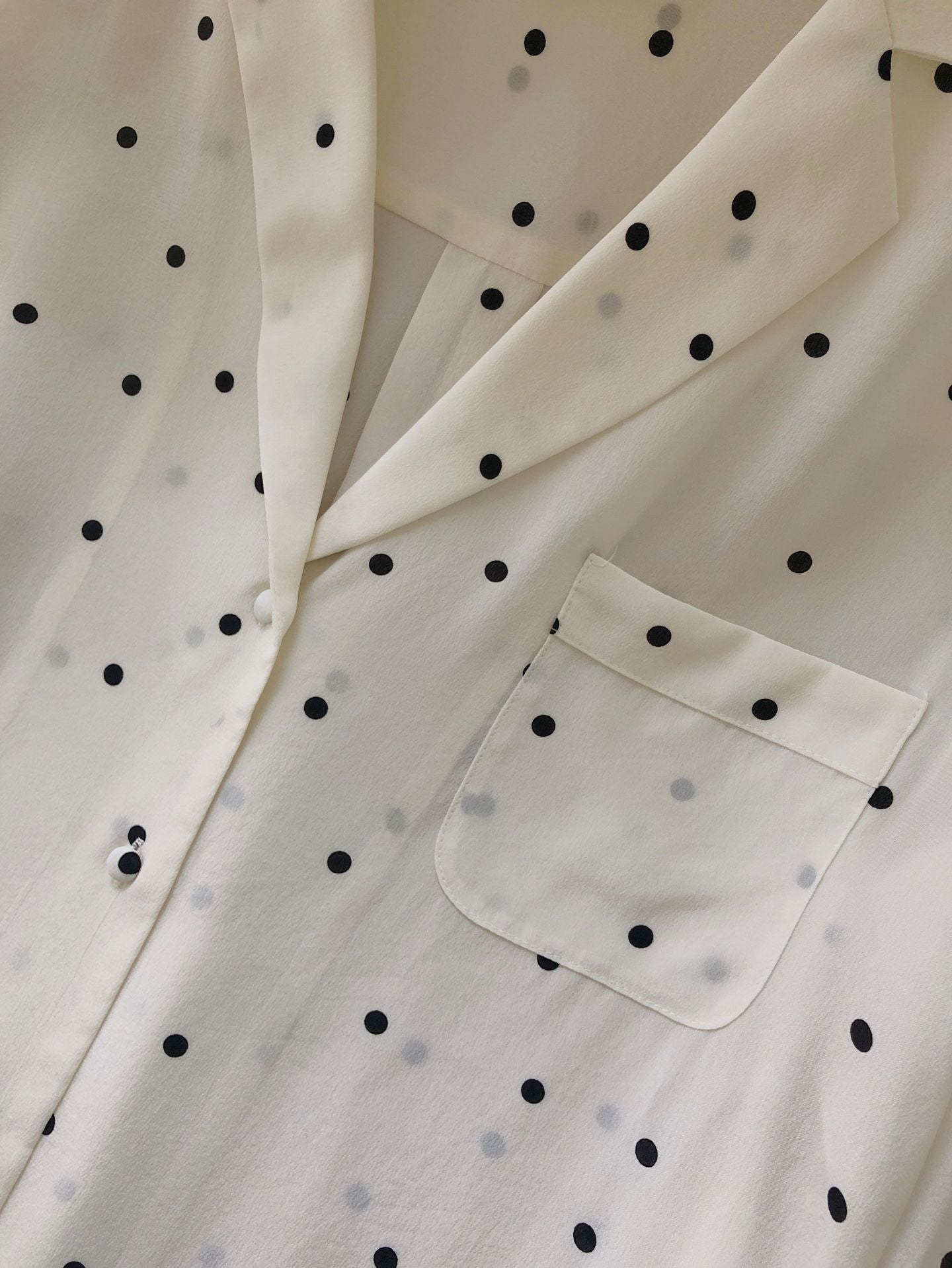Polka Dot Silk Shirt with Pocket