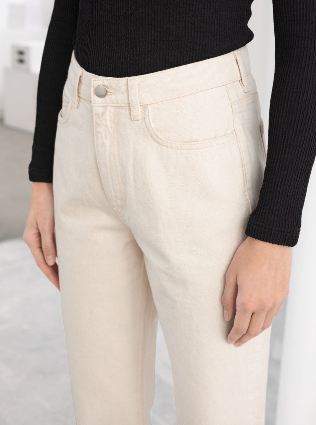 Organic Cotton Sculpt  White Jeans