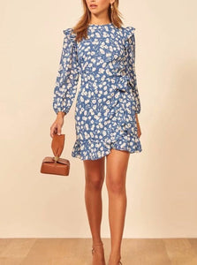 Long Sleeve Printed Dress with Ruffle Trim