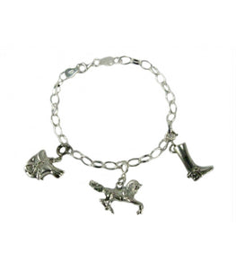 Silver Charm Bracelet with Three Charms