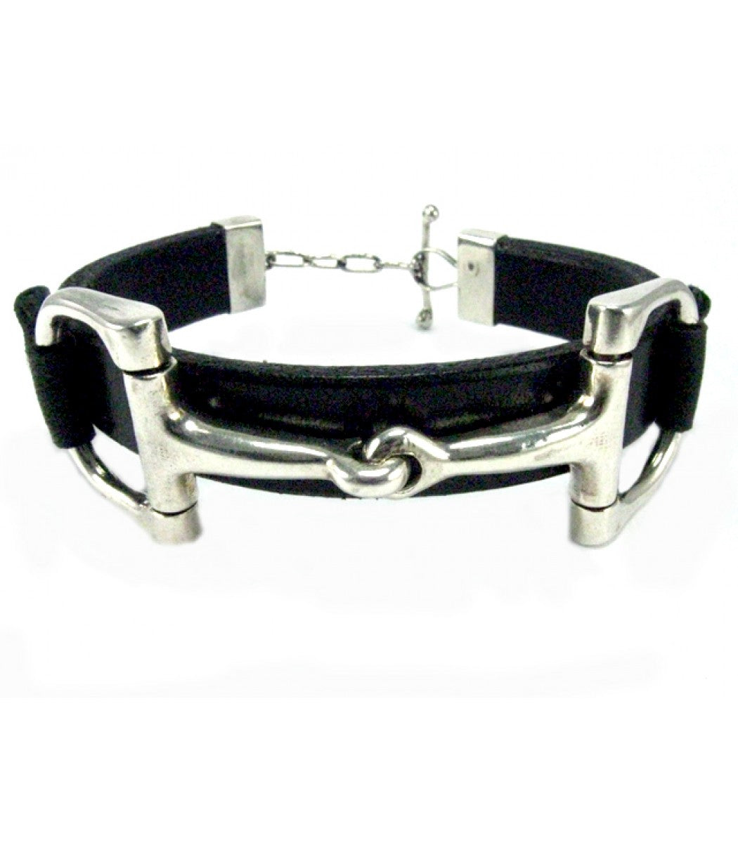 Heavy Snaffle Leather Bracelet
