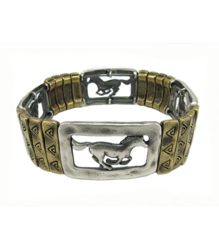 Silver&Brass Shaded Horse Bracelet