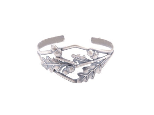 Oak Leaves Silver Bangle