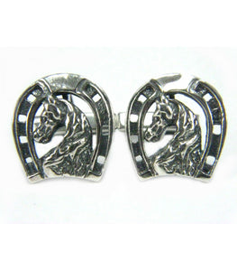 Horse Head with a Horseshoe Cufflinks