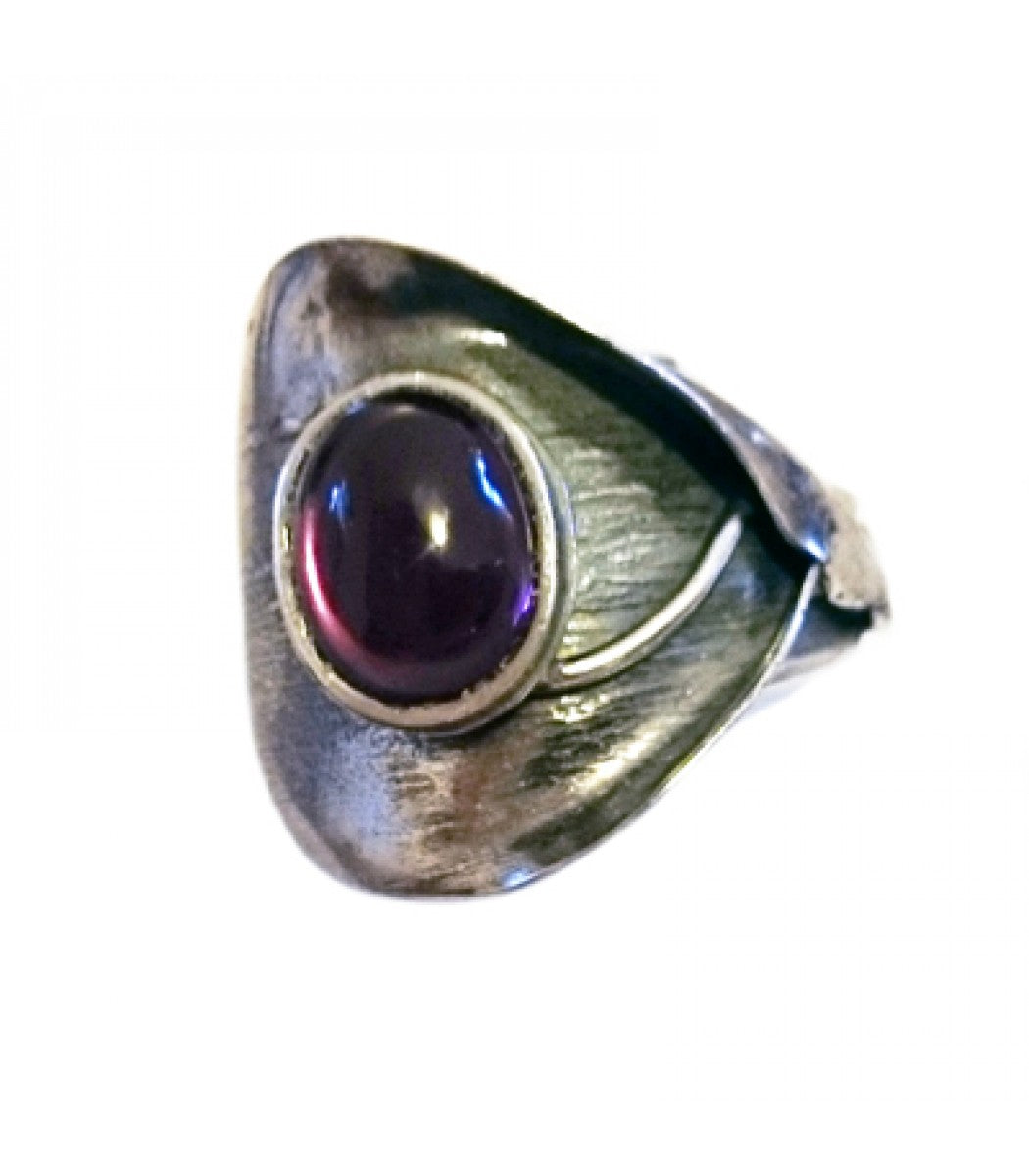 Adjustable Leaf Ring with Purple Element
