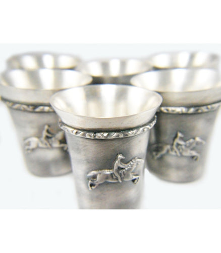 Set of six Silver Coated Shot Glasses