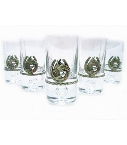 Set of six Shot Glasses with Horse Head&Horseshoe