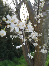 Load image into Gallery viewer, Silver Hoops Dangling Earrings with 3 Balls
