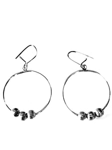 Silver Hoops Dangling Earrings with 3 Balls