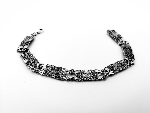 Filigree wide silver bracelet