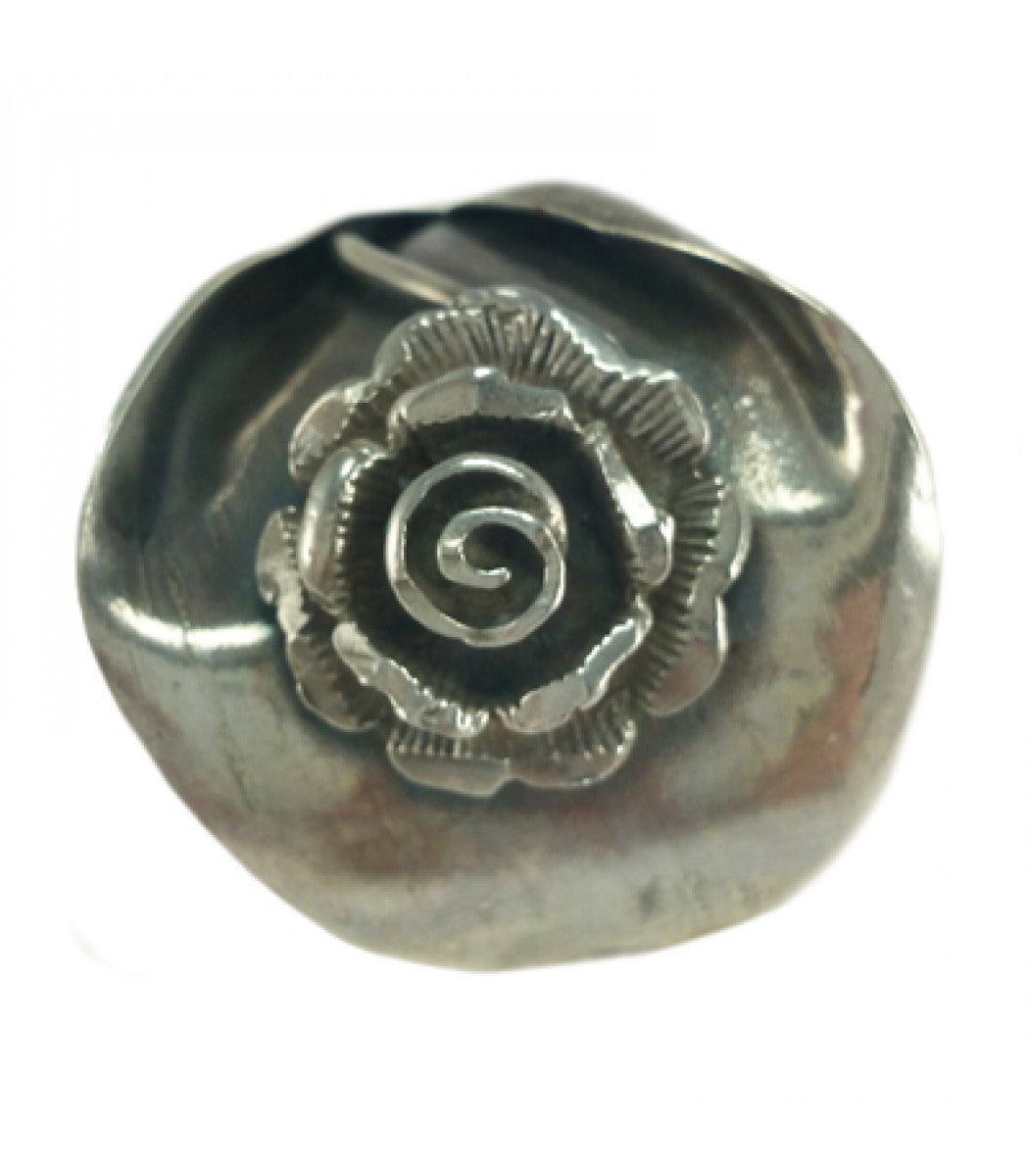 Rose On A Leaf Ring - Handmade Silver
