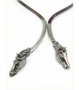 Two Horse Heads with a Black Leather Cord