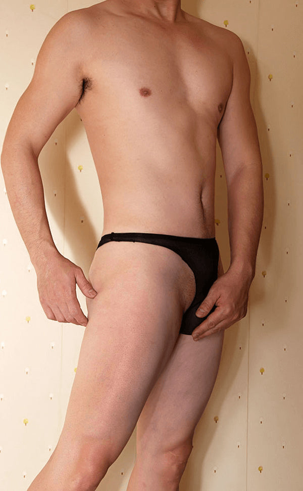 Seamless Sheer Nylon Briefs with Pouch and Panel