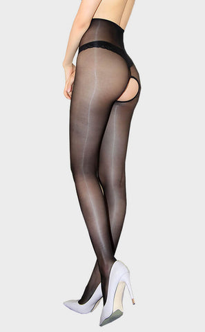 1D Ultra-Thin Crotchless Naked Shiny Pantyhose
