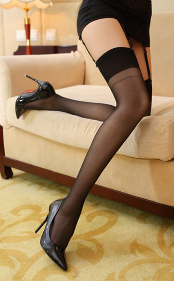 Plain Top Glossy Thigh High Stockings