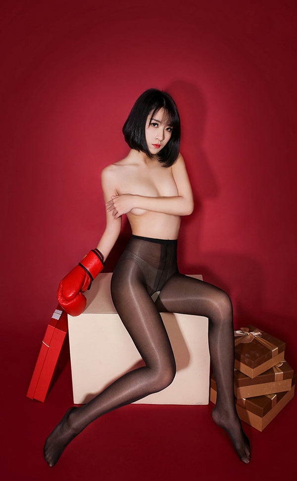 Sheer Shiny Crotchless Tights
