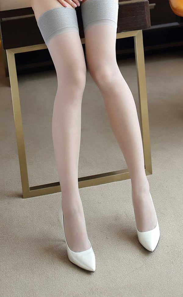 Plain Top Silky Thigh High Stockings