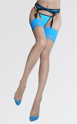Classical Bicolor Seamed Thigh High Stockings