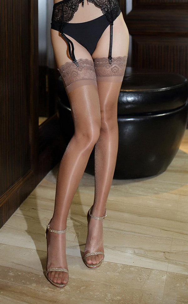 Lace Top Glossy Thigh High Stockings