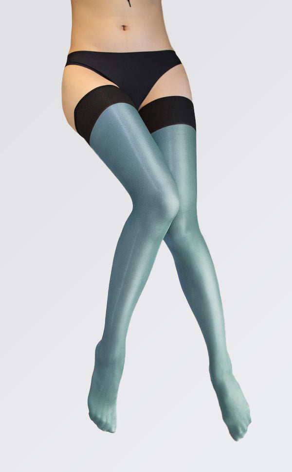 Ultra Shiny Bicolor Stay Up Thigh Highs