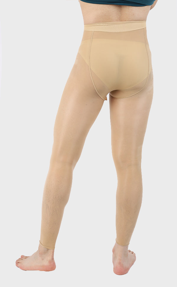 Men's Glossy Footless Pantyhose with Sheath Open