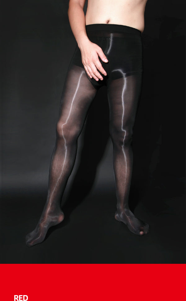 Men's Shiny Pantyhose with Pouch