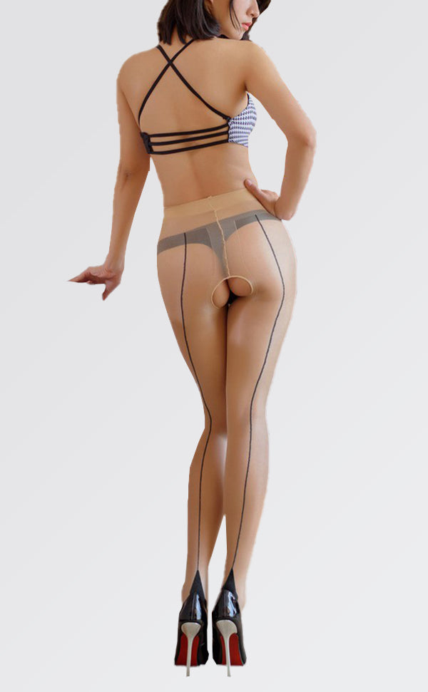 Sheer Back Seam Pantyhose Open Crotch