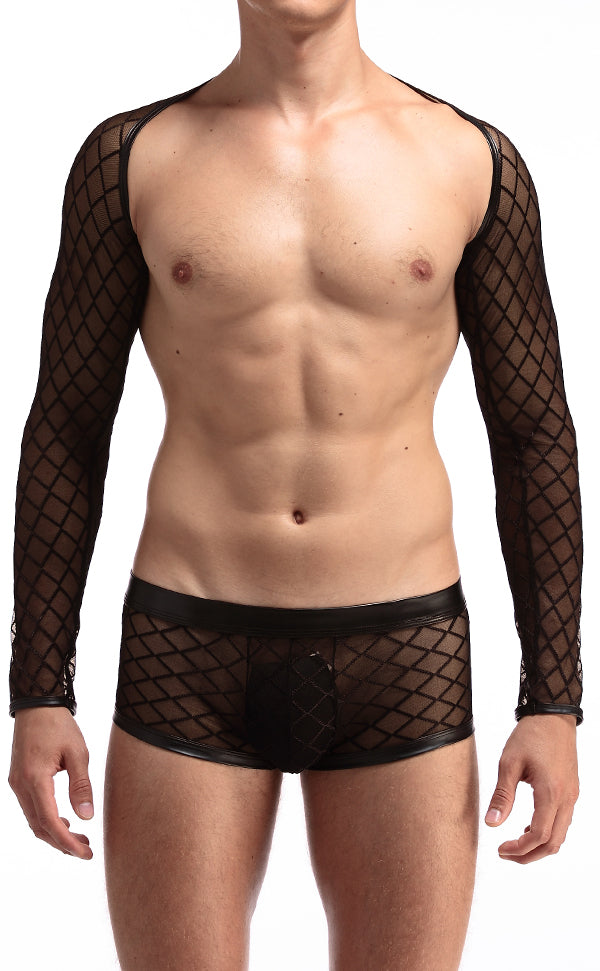 Men's Sexy Long Sleeve Fishnet Vest