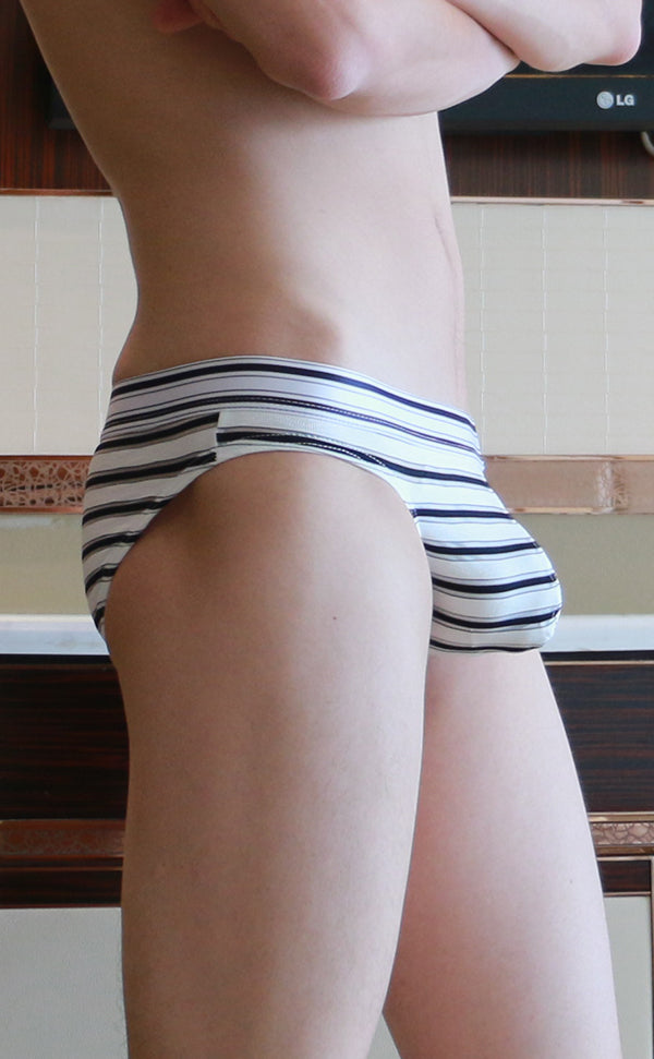 Men's Ice Silk Pouch Stripes Briefs