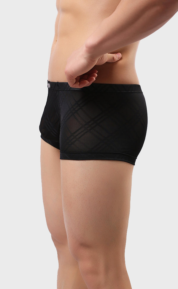 Men's Breathable Grid Pattern Trunk