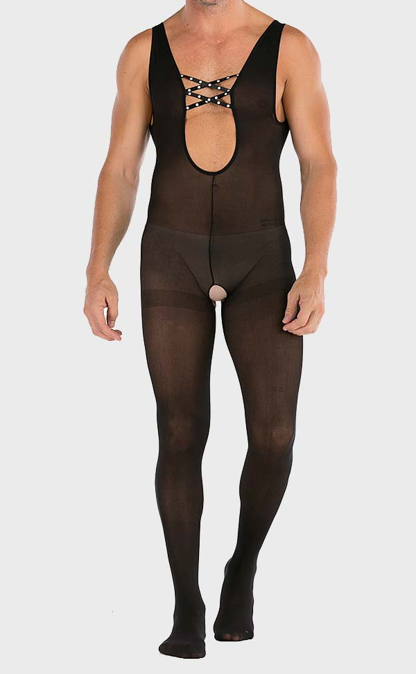 Men's Sexy Stretch Large Crotchless Bodystocking