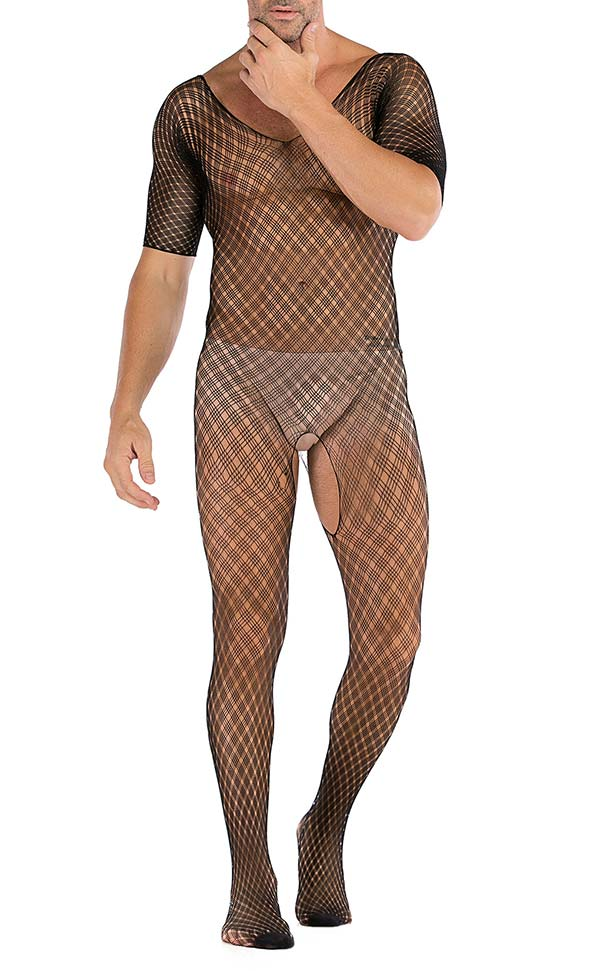 Men's Sheer Large Net Crotchless Bodystocking