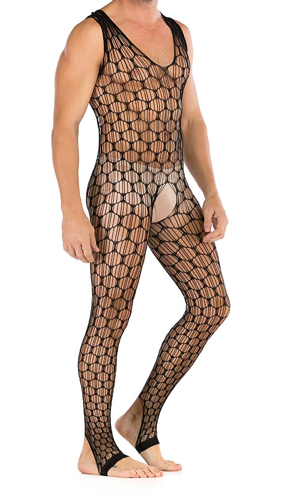 Men's Sexy Large Net Sleeveless Body Stocking