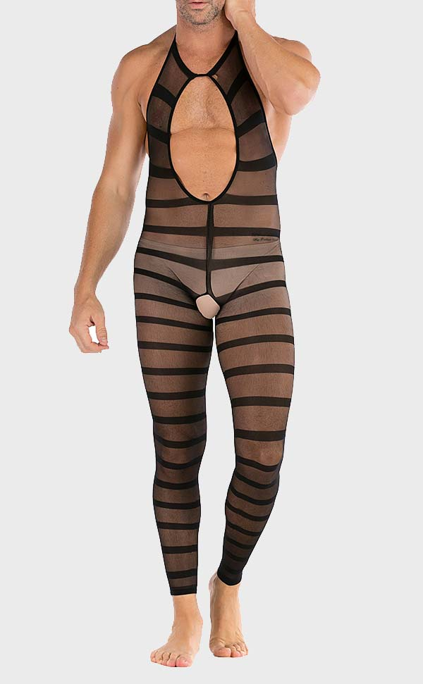 Men's Halter Neck Striped Bodystocking Open Crotch