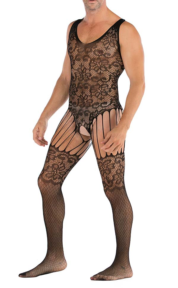 Men's Mesh Lace Suspender Bodystocking Sleeveless