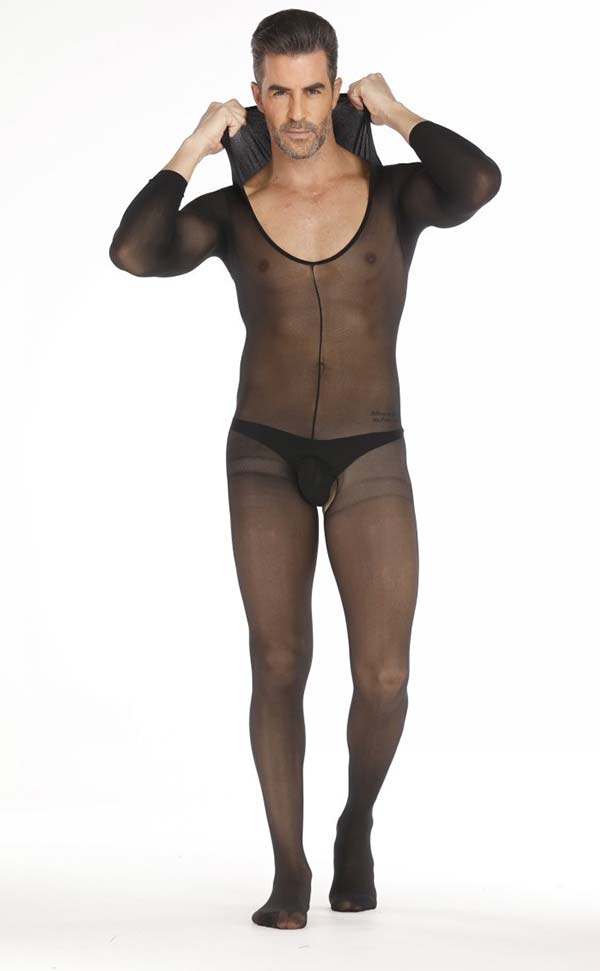 Men's Hooded Long Sleeve Bodystocking Open Crotch