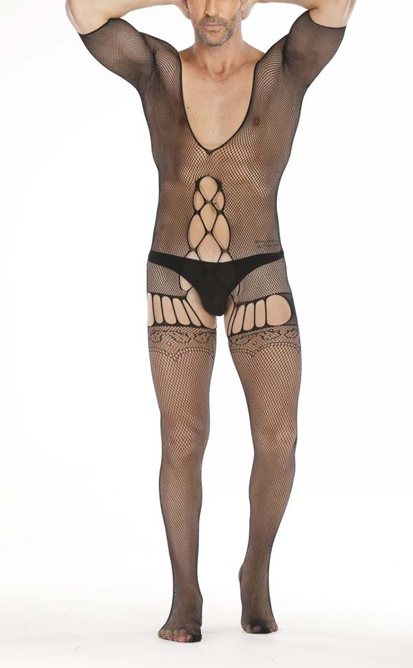 Men's Sexy Deep V Fishnet Body Stocking Open Crotch